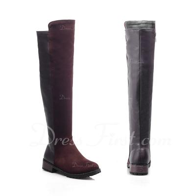 Süet Alçak Topuk Diz Yüksek Boots ayakkabı (088056351)