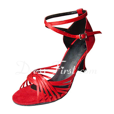 Women's Satin Heels Sandals Latin With Ankle Strap Dance Shoes (053013239)