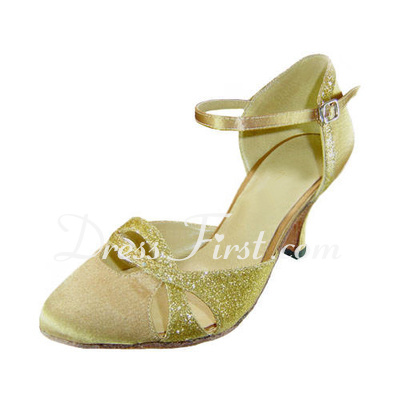 Women's Satin Sparkling Glitter Heels Pumps Ballroom With Ankle Strap Dance Shoes (053013014)