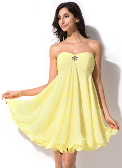 Empire Sweetheart Short/Mini Chiffon Homecoming Dress With Ruffle Beading (022021289)