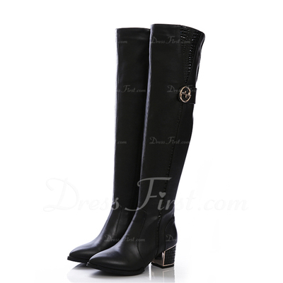 Real Leather Low Heel Over The Knee Boots With Buckle shoes (088057061)