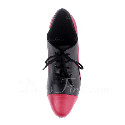 Women's Real Leather Heels Pumps Practice With Lace-up Dance Shoes (053057183)