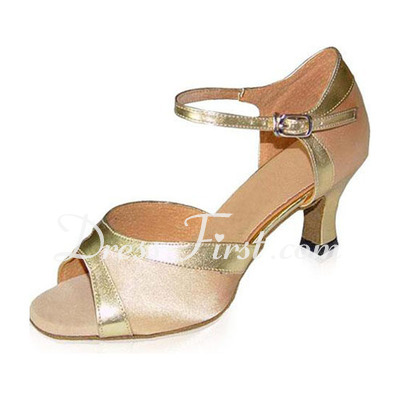Women's Satin Patent Leather Heels Sandals Latin With Ankle Strap Dance Shoes (053021592)