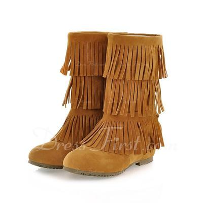 Suede Wedge Heel Mid-Calf Boots With Tassel shoes (088054390)