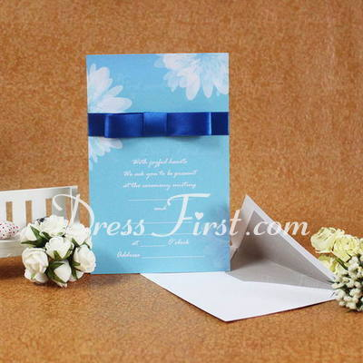 Classic Style Flat Card Invitation Cards With Ribbons (Set of 50) (114030751)