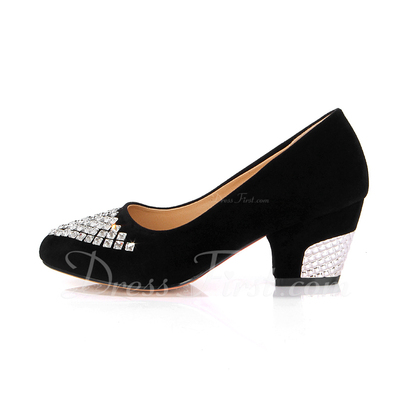 Suede Chunky Heel Pumps Closed Toe With Rhinestone shoes (085054476)