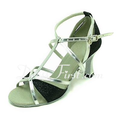 Women's Leatherette Sparkling Glitter Sandals Latin Ballroom With T-Strap Dance Shoes (053013215)