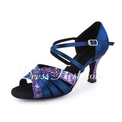 Women's Satin Sparkling Glitter Heels Sandals Latin Salsa Dance Shoes (053020373)