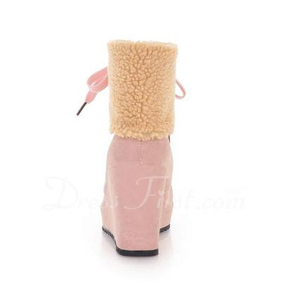Suni deri Dolgu Topuk Ayak bileği Boots Ile Bağcıklı ayakkabı (088056390)