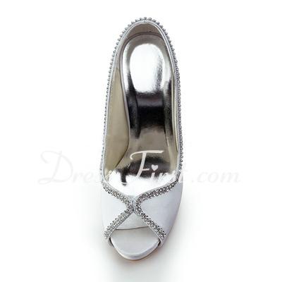 Kadın Satin Külah Topuk Peep Toe Platform Sandalet Ile Boncuklama (047011821)