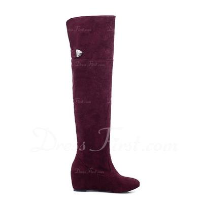 Süet Düz Topuk Diz Yüksek Boots ayakkabı (088057280)