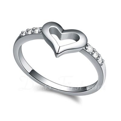 Tatlı Kalp Zirkon/Platin Kaplama/Rose Altın Kaplama Bayanlar Yüzükler (011057626)