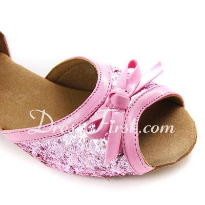 Kadın Çocuk Suni deri Köpüklü Glitter Topuk Sandalet Latin Ile Ilmek Ayakkabı Askısı Dans Ayakkabıları (053013003)