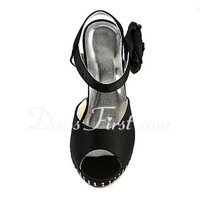Women's Satin Cone Heel Platform Sandals Slingbacks With Rhinestone Satin Flower (047016584)