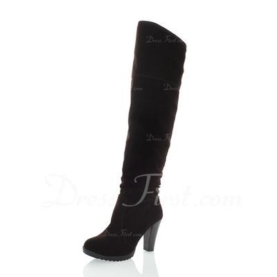 Süet Kalın Topuk Diz Yüksek Boots ayakkabı (088057277)