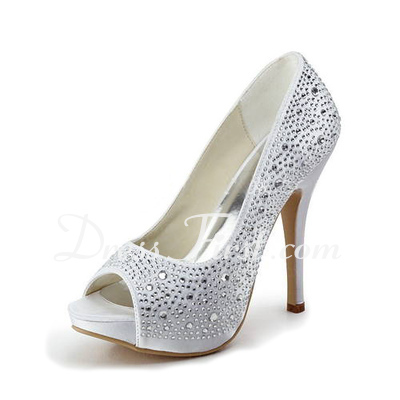 Women's Satin Stiletto Heel Peep Toe Platform Sandals With Rhinestone (047011800)