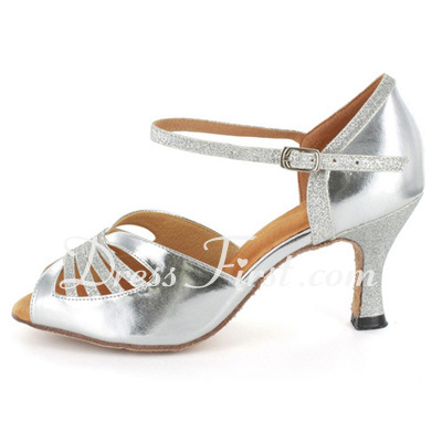 Women's Sparkling Glitter Patent Leather Heels Sandals Latin Dance Shoes (053021561)