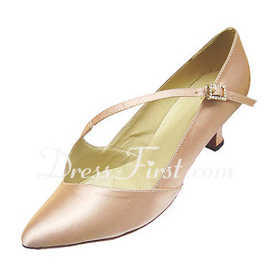 Women's Satin Heels Pumps Ballroom With Rhinestone Buckle Dance Shoes (053013018)