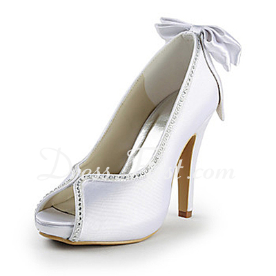 Women's Satin Cone Heel Peep Toe Platform Sandals With Bowknot Rhinestone (047015219)
