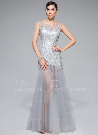 Trumpet/Mermaid Scoop Neck Floor-Length Tulle Sequined Prom Dress With Beading (018044986)