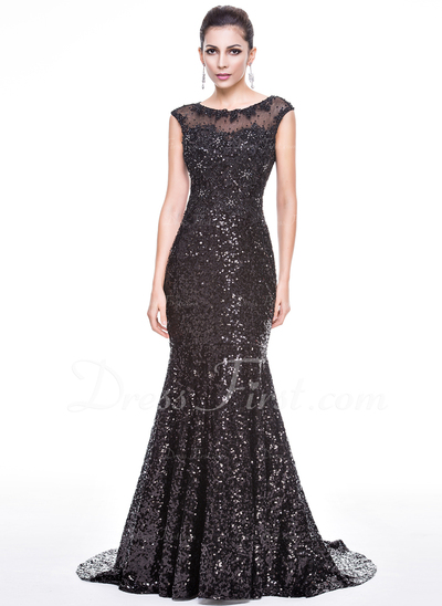 Trumpet/Mermaid Scoop Neck Court Train Sequined Evening Dress With Beading Appliques Lace (017056493)