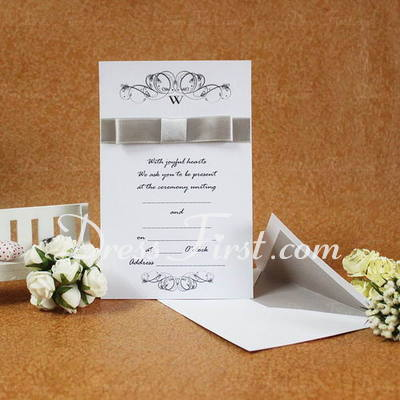 Classic Style Flat Card Invitation Cards With Ribbons (Set of 50) (114030738)