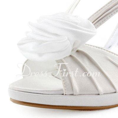 Saten Külah Topuk Burnu Açık Platform Topuktan Bağlı Sandalet Düğün Ayakkabıları Ile Saten Çiçek (047011895)