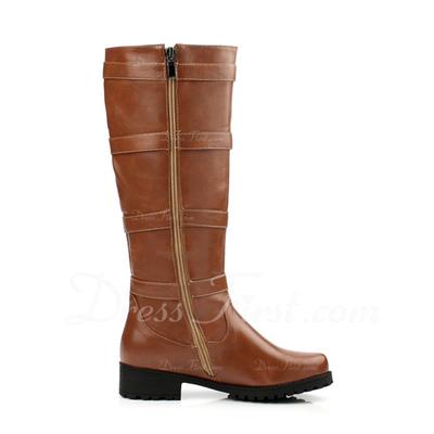 Cuero Tacón plano Botas a la rodilla con Hebilla zapatos (088054401)