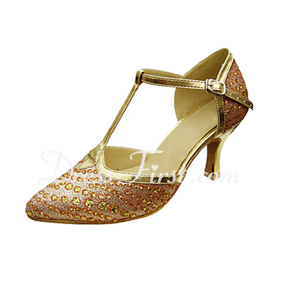 Women's Leatherette Sparkling Glitter Heels Pumps Modern Wedding Party With T-Strap Dance Shoes (053013182)