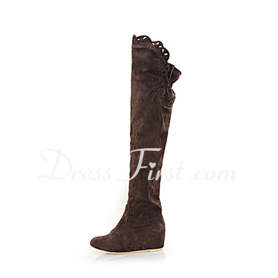Suede Low Heel Closed Toe Over The Knee Boots shoes (088013945)
