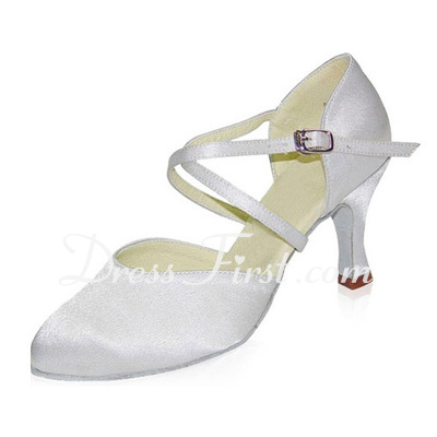 Women's Satin Heels Pumps Modern Ballroom With Ankle Strap Dance Shoes (053021390)
