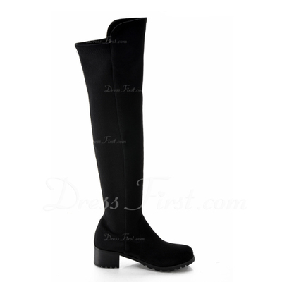 Süet Kalın Topuk Diz Yüksek Boots Ile Fermuar ayakkabı (088057261)