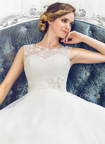 Ball-Gown Scoop Neck Sweep Train Organza Lace Wedding Dress With Beading Sequins (002054362)