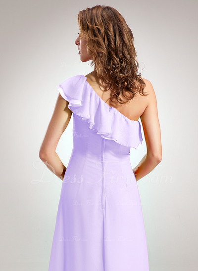 A-Line/Princess One-Shoulder Floor-Length Chiffon Bridesmaid Dress With Cascading Ruffles (008005664)