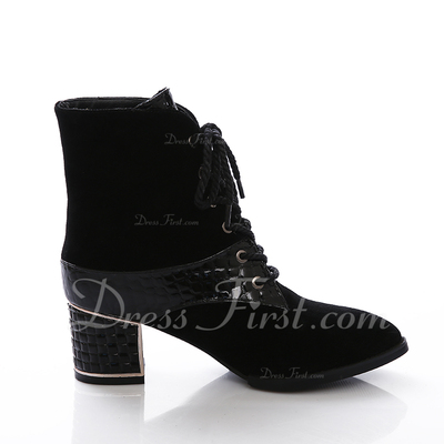 Real Leather Chunky Heel Ankle Boots With Lace-up shoes (088057052)