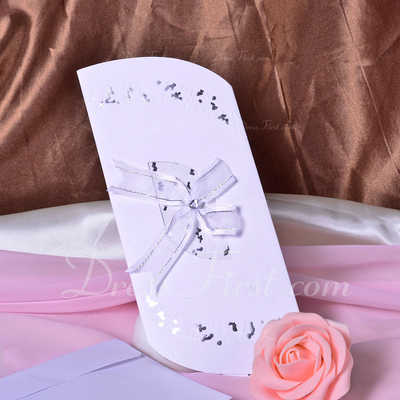 Artistic Style Tri-Fold Invitation Cards With Bows (Set of 50) (114033292)