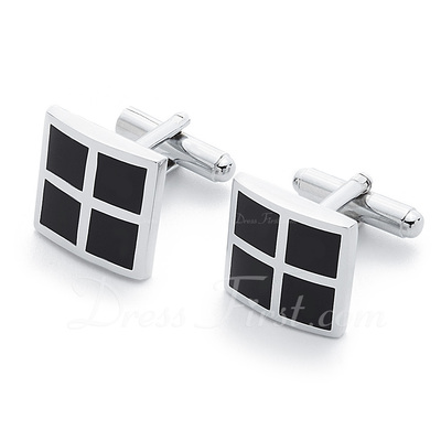 Simple Square Zinc Alloy Cufflink (Set of 2) (051033665)