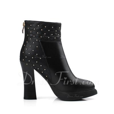 Gerçek Deri Kalın Topuk Ayak bileği Boots Ile Boncuklama ayakkabı (088056312)