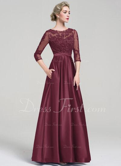 Ball-Gown Scoop Neck Floor-Length Satin Evening Dress (017093487)