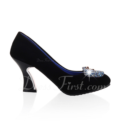 Suede Chunky Heel Pumps Closed Toe With Rhinestone shoes (085054488)