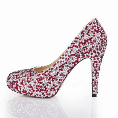 Women's Satin Stiletto Heel Closed Toe Platform Pumps With Rhinestone (047055261)