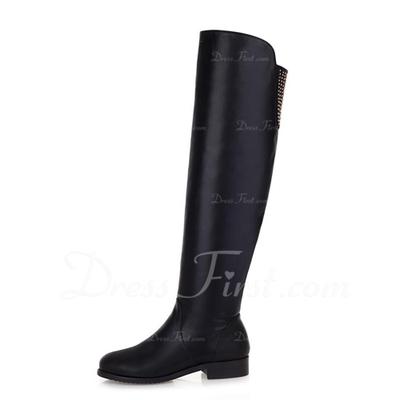 Suni deri Düz Topuk Diz Yüksek Boots ayakkabı (088056388)