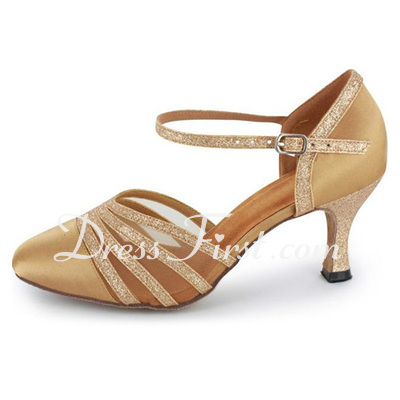 Women's Satin Sparkling Glitter Heels Pumps Modern With Ankle Strap Dance Shoes (053021532)