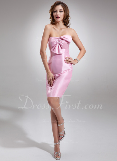 Sheath/Column Sweetheart Short/Mini Taffeta Bridesmaid Dress With Ruffle Bow(s) (022016774)