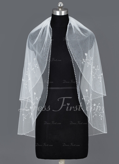 Two-tier Elbow Bridal Veils With Beaded Edge (006034215)