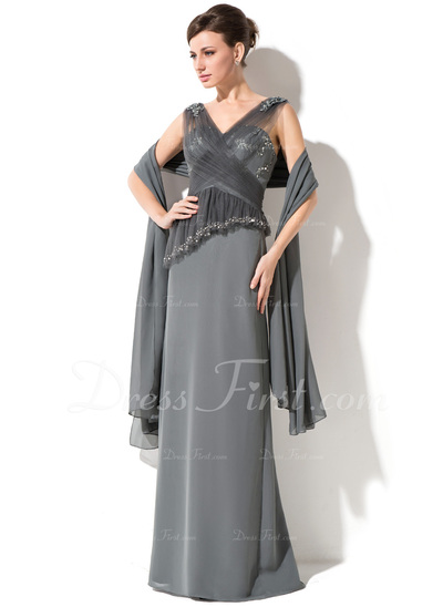 Sheath/Column V-neck Floor-Length Chiffon Tulle Mother of the Bride Dress With Lace Beading Sequins Cascading Ruffles (008050382)