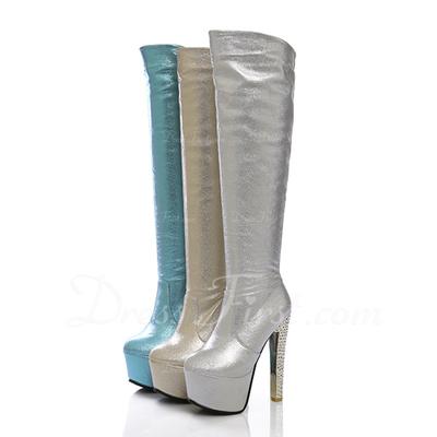 Suni deri İnce Topuk Platform Diz Yüksek Boots ayakkabı (088056362)