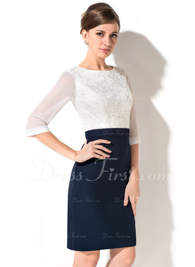 Sheath/Column Scoop Neck Knee-Length Chiffon Lace Cocktail Dress (016050342)