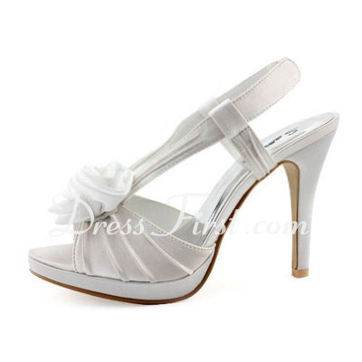 Women's Satin Cone Heel Peep Toe Platform Sandals Slingbacks With Satin Flower (047011895)