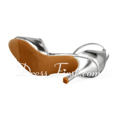 Skóra Stiletto Heel Peep Toe Sandały Buty ślubne Rhinestone (047011868)